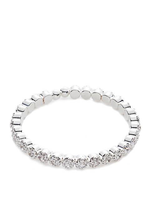 Kim Rogers® Silver-Tone Crystal Cuff Bracelet
