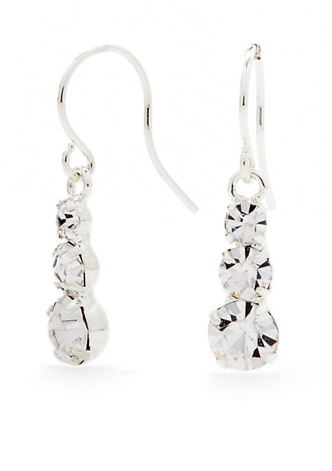 Kim Rogers® Silver-Tone with Crystal Drop Earrings