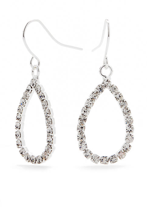 Kim Rogers® Silver-Tone with Crystal Teardrop Drop Earrings