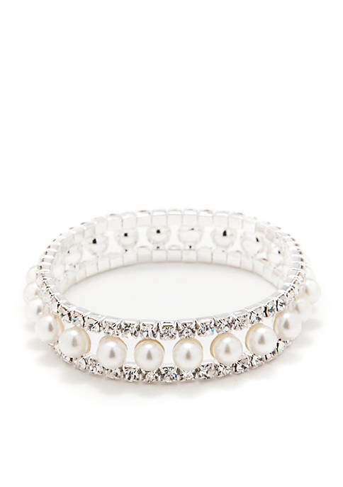Kim Rogers® Silver-Tone Crystal Pearl Three-Row Stretch Bracelet