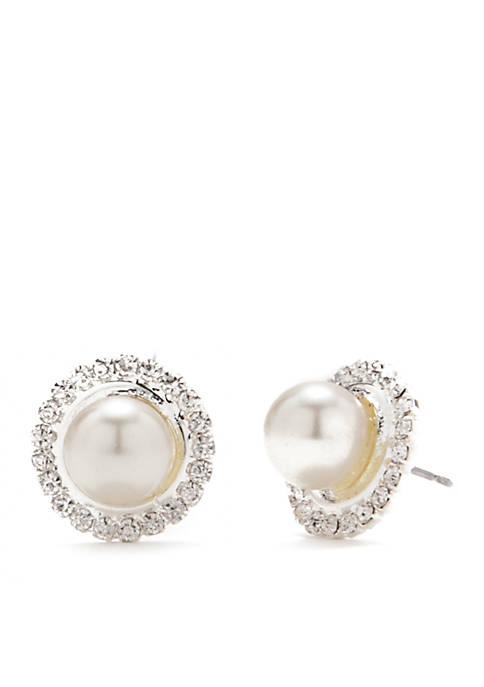 Kim Rogers® Silver-Tone Crystal Pearl Button Earrings