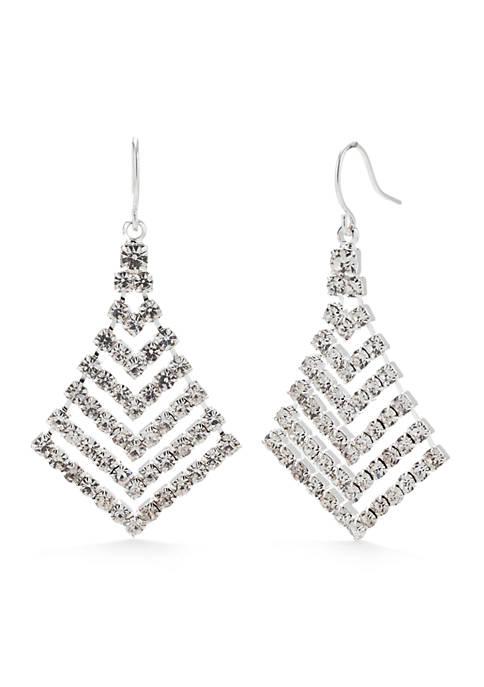 Belk Silver-Tone Crystal Graduated Chevron Drop Earrings