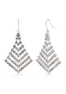 Silver-Tone Crystal Graduated Chevron Drop Earrings
