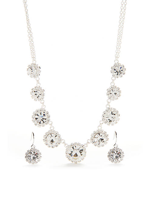 Kim Rogers® Silver-Tone with Crystal Floral Motif Necklace