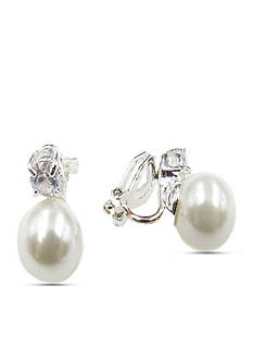 Kim Rogers® Silver-Tone Pearl Clip Earrings