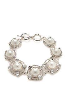 Silver-Tone Multi Pearl Statement Bracelet