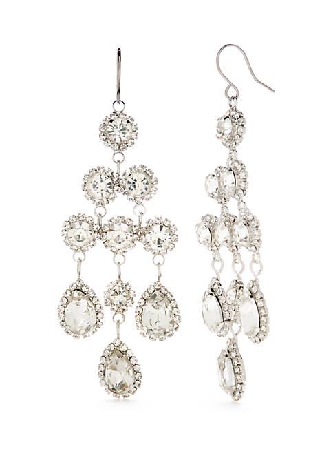 Silver Tone Crystal Chandelier Earrings