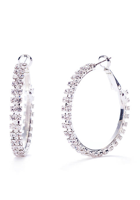 Kim Rogers® Silver-Tone Crystal Hoop Earrings