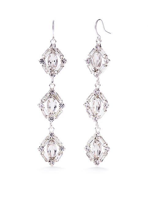 Kim Rogers® Silver-Tone Triple Drop Earrings
