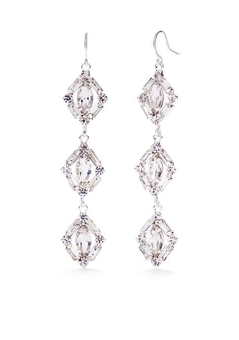 Silver-Tone Triple Drop Earrings