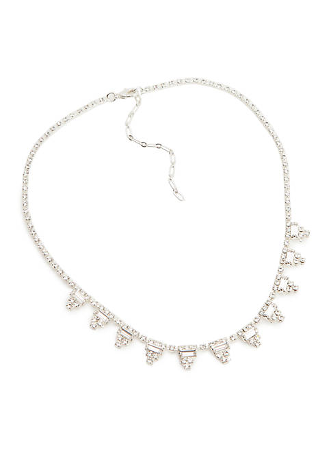 Kim Rogers® Silver-Tone Crystal Pyramid Collar Necklace
