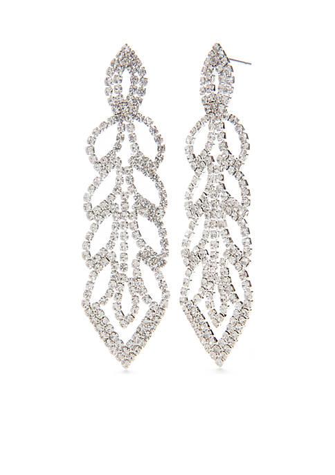 Silver Tone Linear Leaf Rhinestone Statement Earrings