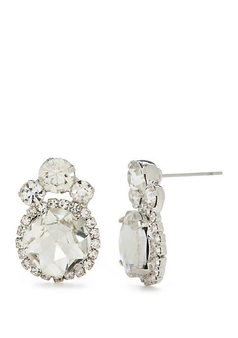 Silver Tone Fancy Stone Earrings