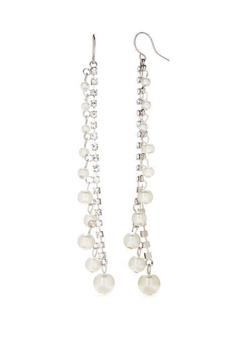 Silver Tone Pearl Fringe Earrings