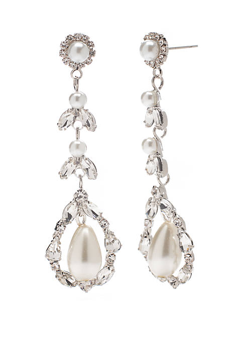 Silver Tone Pearl and Crystal Drop Earrings