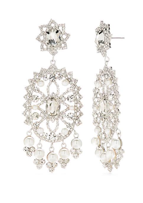 Silver Tone Pearl Bridal Lace Earrings