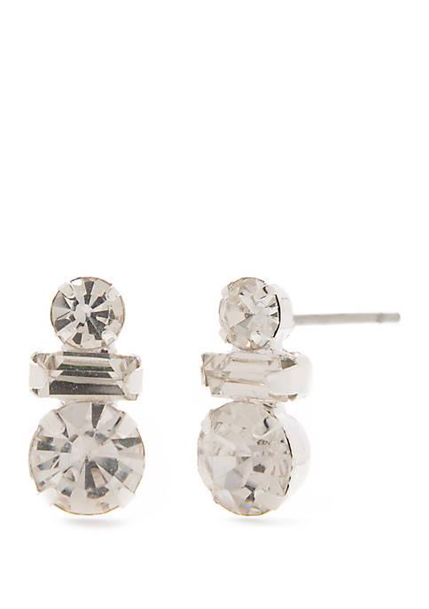 Silver Tone Drop Stud Earrings