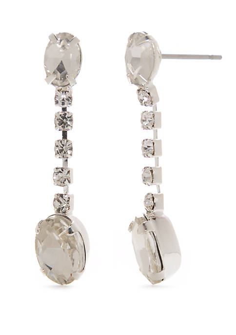 Kim Rogers® Silver Tone Linear Drop Earrings