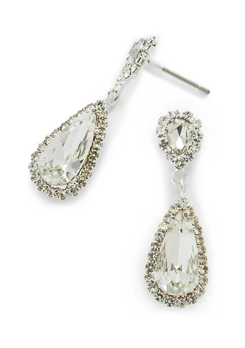 Pear Shaped Silver Tone Earrings