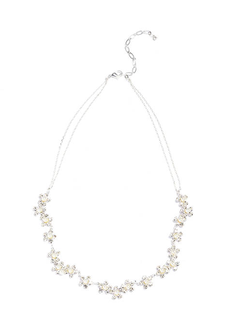 Flower Silver Tone Necklace