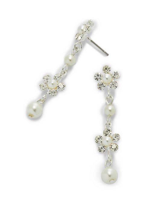 Silver Flower Linear Earrings
