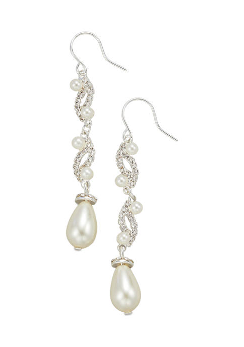 Belk Womens Crystal Pearl Drop Earrings
