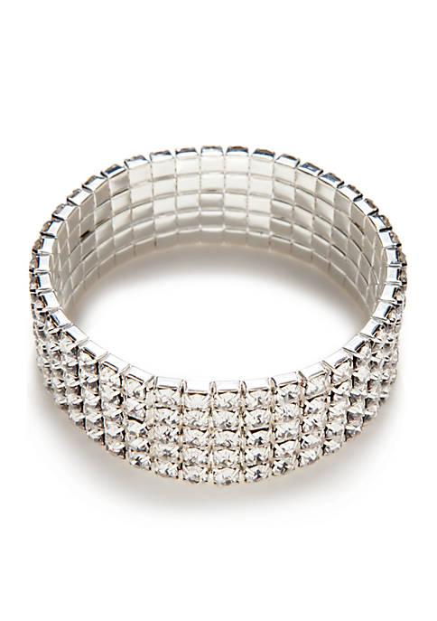 Kim Rogers® Silver-Tone Crystal Stone Stretch Bracelet