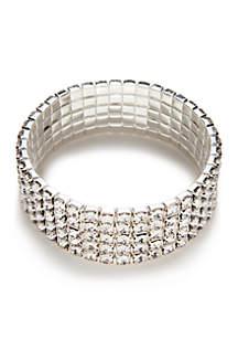 Silver-Tone Crystal Stone Stretch Bracelet