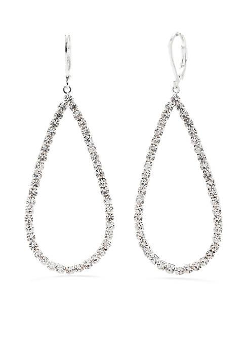 Silver-Tone Crystal Teardrop Drop Earrings