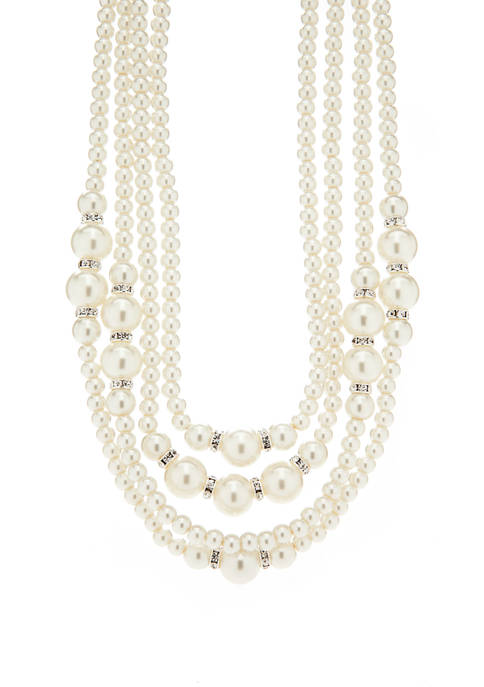 Kim Rogers® Silver Pearl Rondelle Multi Strand Necklace
