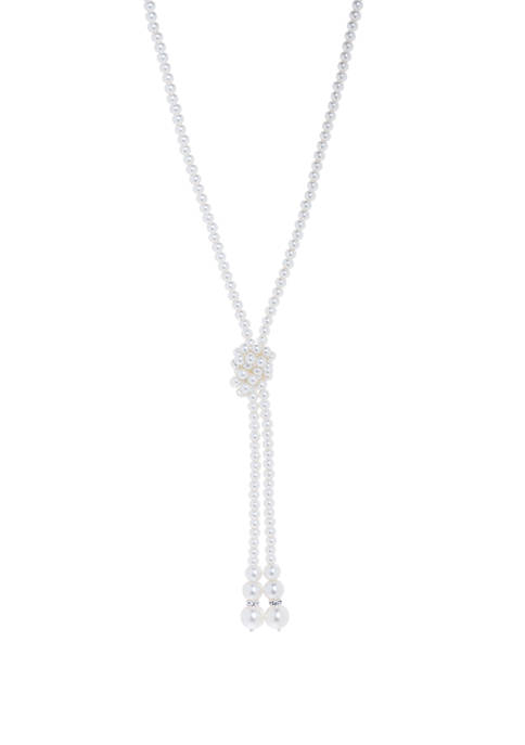 Silver Tone Pearl  Tassel Necklace
