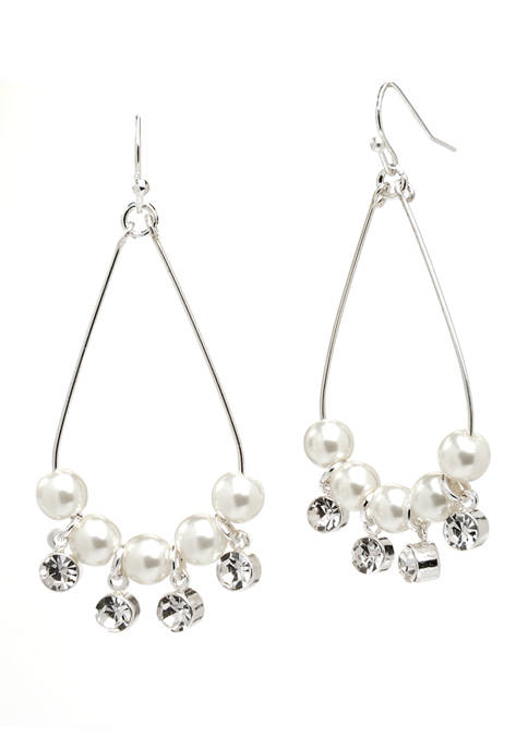 Kim Rogers® Silver Pearl Crystal Wire Teardrop Earrings