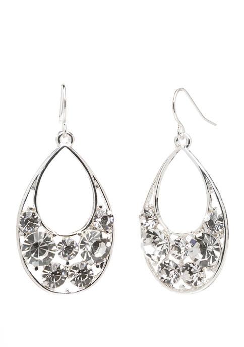Kim Rogers® Silver Crystal Teardrop Earrings