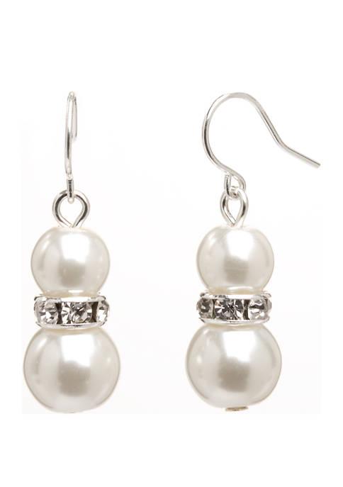 Kim Rogers® Silver Double Pearl Rondelle Drop Earrings