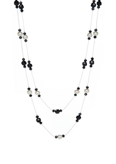 72 Inch Jet Pearl Illusion Necklace