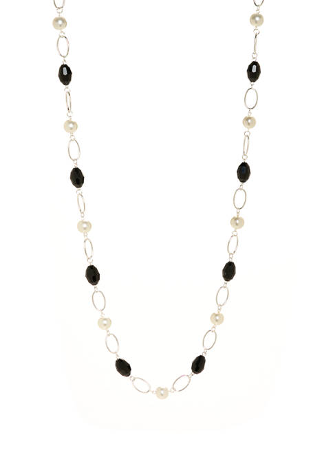 Kim Rogers® Silver Jet Pearl Link Necklace