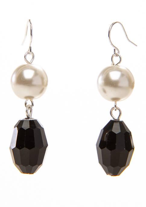 10 Millimeter Jet Pearl Drop Earrings