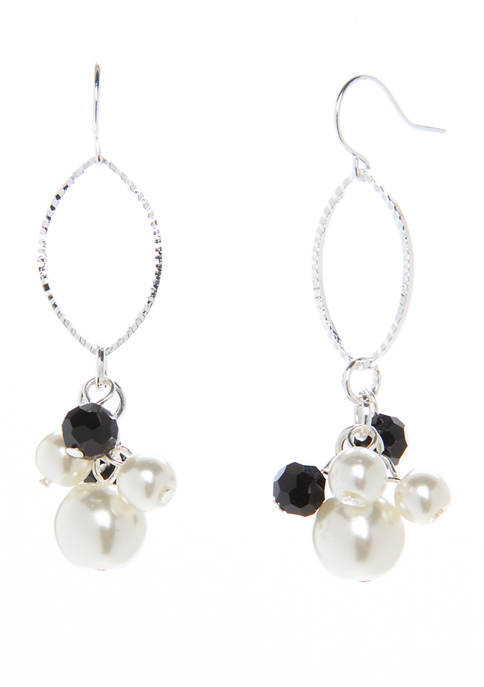 Kim Rogers® Silver Tone Jet Pearl French Wire