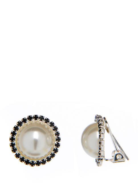 Kim Rogers® Silver Tone Jet Pearl Stud Clip