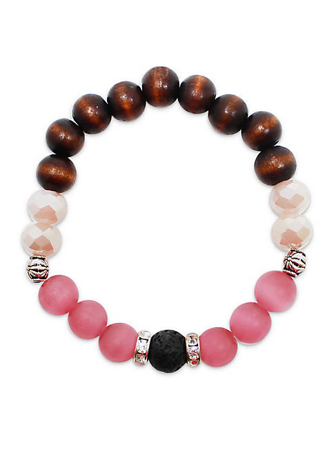 Glass And Wood Essential Oil Diffuser Bracelet