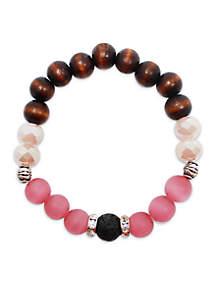 L&J ACCESSORIES Glass And Wood Essential Oil Diffuser Bracelet