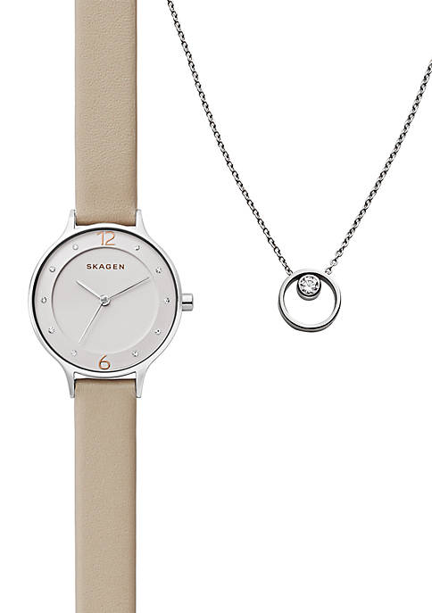 Womens Anita Oatmeal Leather Watch and Elin Crystal Pendant Gift Set
