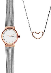 Women's Freja Two-Tone Steel-Mesh Watch and Katrine Necklace Gift Set