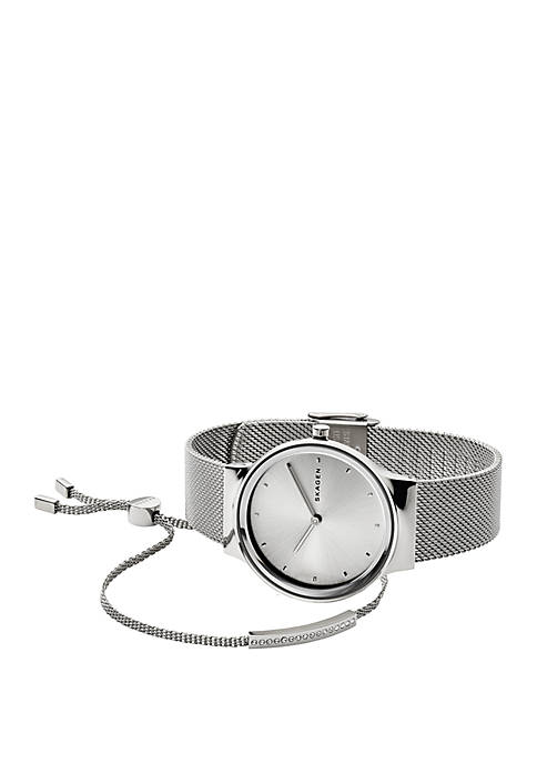 Skagen Freja Steel-Mesh Watch and Merete Bracelet Box