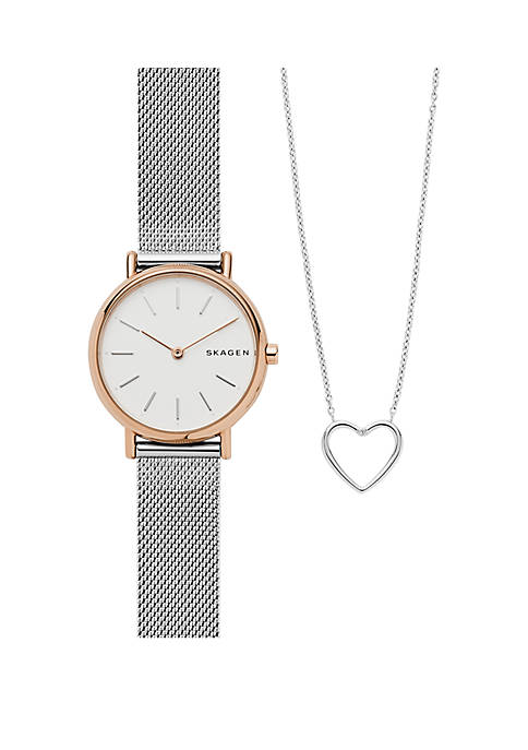 Skagen Signatur Silver Mesh Rose Tone Case Necklace