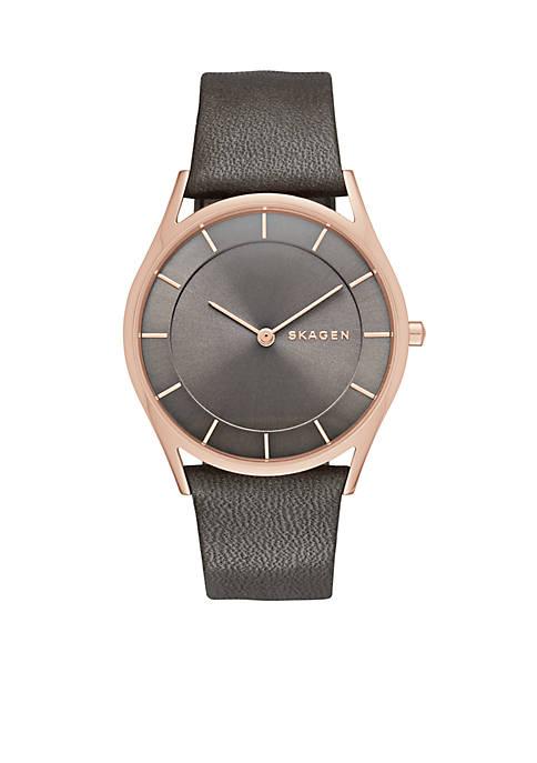 Skagen Womens Holst Leather Three Hand Watch