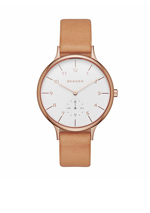 Skagen Womens Anita Light Brown Leather Rose Gold-Tone