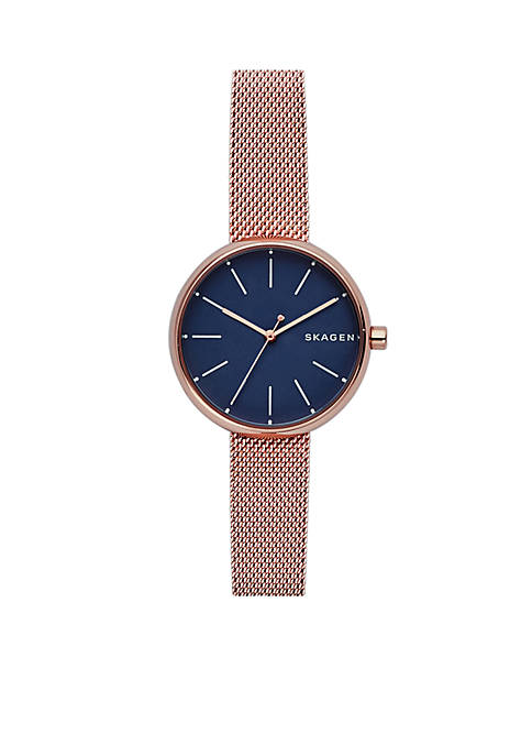 Skagen Womens Rose Gold-Tone Signature Steel-Mesh Watch
