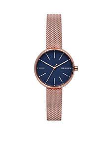Women's Rose Gold-Tone Signature Steel-Mesh Watch