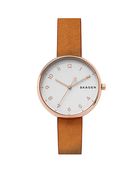 Skagen Womens Rose Gold-Tone Signatur Leather Watch
